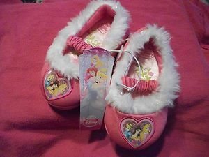 Disney Princesses Slippers with with fur tops childrens size small 5-6 NWT
