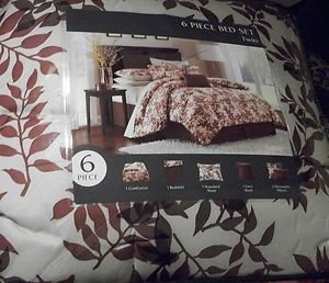COMPLETE BED SET 6 PC FOLIAGETWIN SIZE COMFORTER BED IN A BAG CREAM RUST   NIP