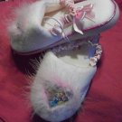 Disney Princesses Slippers with fur and heart toe childrens size small 5-6 NWT
