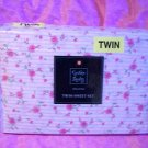 CYNTHIA ROWLEY PINK ROSE FLORAL 3 PC TWIN SHEET SET 100% COTTON SATEEN  NIP