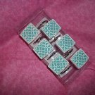 WAVERLY SET OF 12 SHOWER CURTAIN HOOKS BLUE WHITE LATTICE  N.I.P.