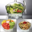 UZO1 SALAD ON ICE BOWL  WITH DOME SHAPED LID & SERVERS