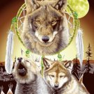 Mink Blanket, Wolf with Dream Catcher, Q959
