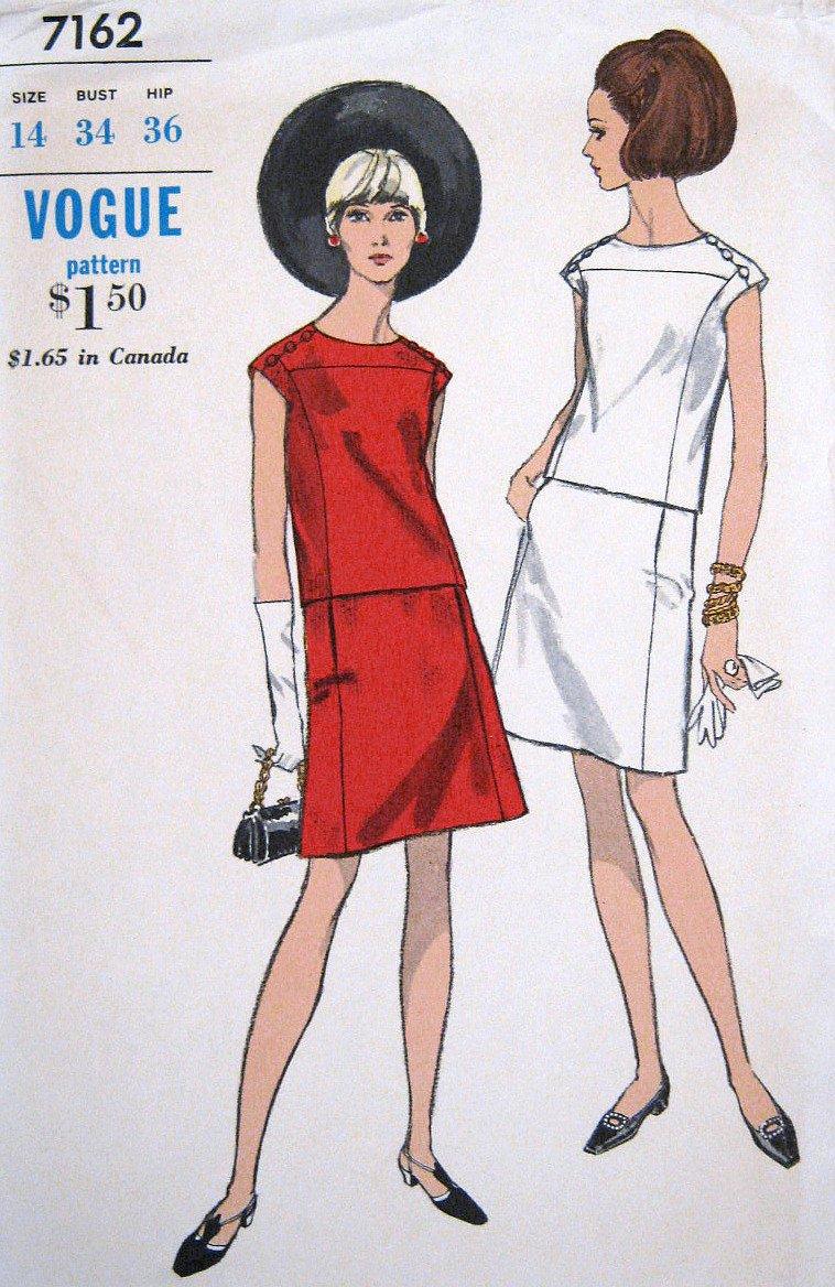 Vintage 1960s MOD Sleeveless 2 Piece Dress Sewing Pattern Vogue 7162 Size 14 Bust 34 UNCUT