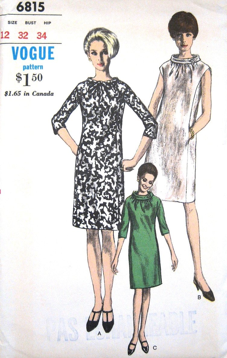 Vintage 1960s MOD Dress Sewing Pattern Rolled Collar Vogue 6815 Bust 32 Size 12 UNCUT