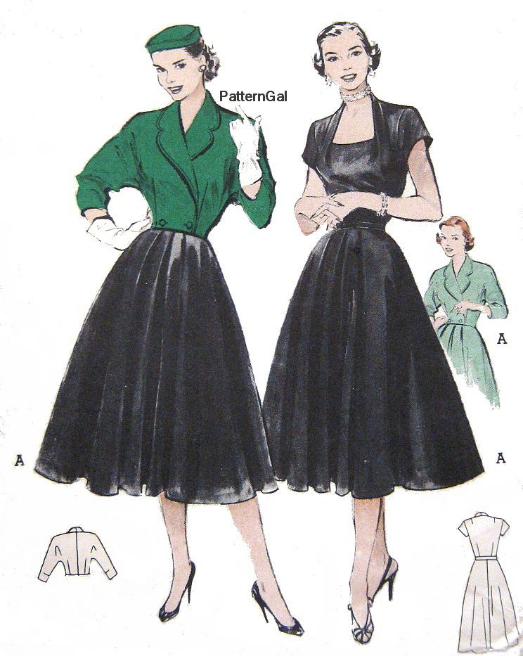 Vintage 1950s Flared Dress & Spencer Jacket Sewing Pattern Low Cut Full Skirt Butterick 6262 Bust 34
