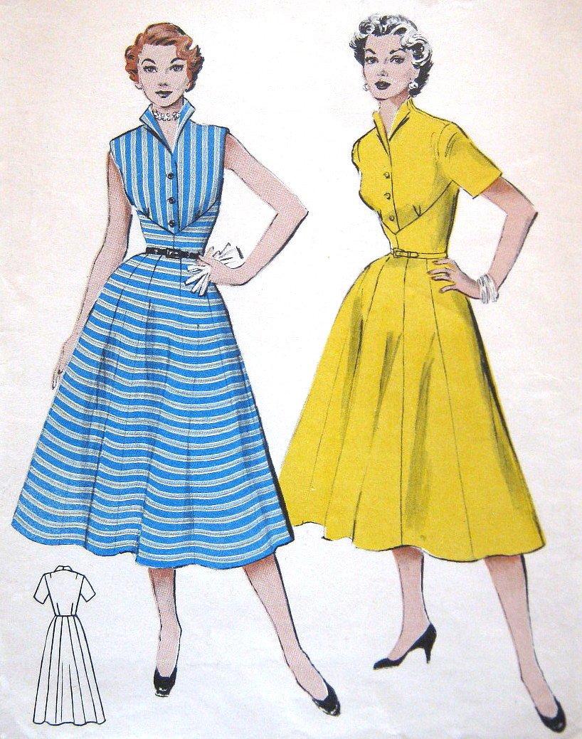 Vintage 1950s Dress Sewing Pattern Rockabilly Swing Butterick 6501 Bust 30 Size 12