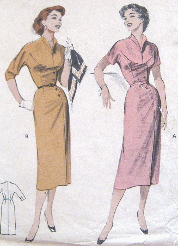 Vintage 1950s Slim Wiggle Dress Sewing Pattern Asymmetrical Butterick 6874 Bust 30 Size 12