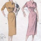 Vintage 1950s Slim Wiggle Dress Sewing Pattern Asymmetrical Butterick 6874 Bust 30 Size 12