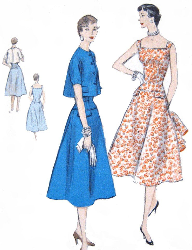 Vintage 1950s Dress & Bolero Sewing Pattern Fitted & Flared Vogue 8557 Bust 32 Size 14