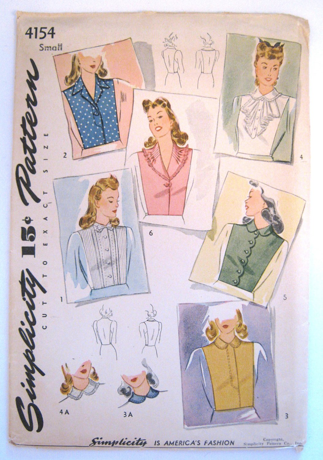 Vintage 1940s Dickey Sewing Pattern Simplicity 4154 Size Small Bust 32 34 Factory Folds
