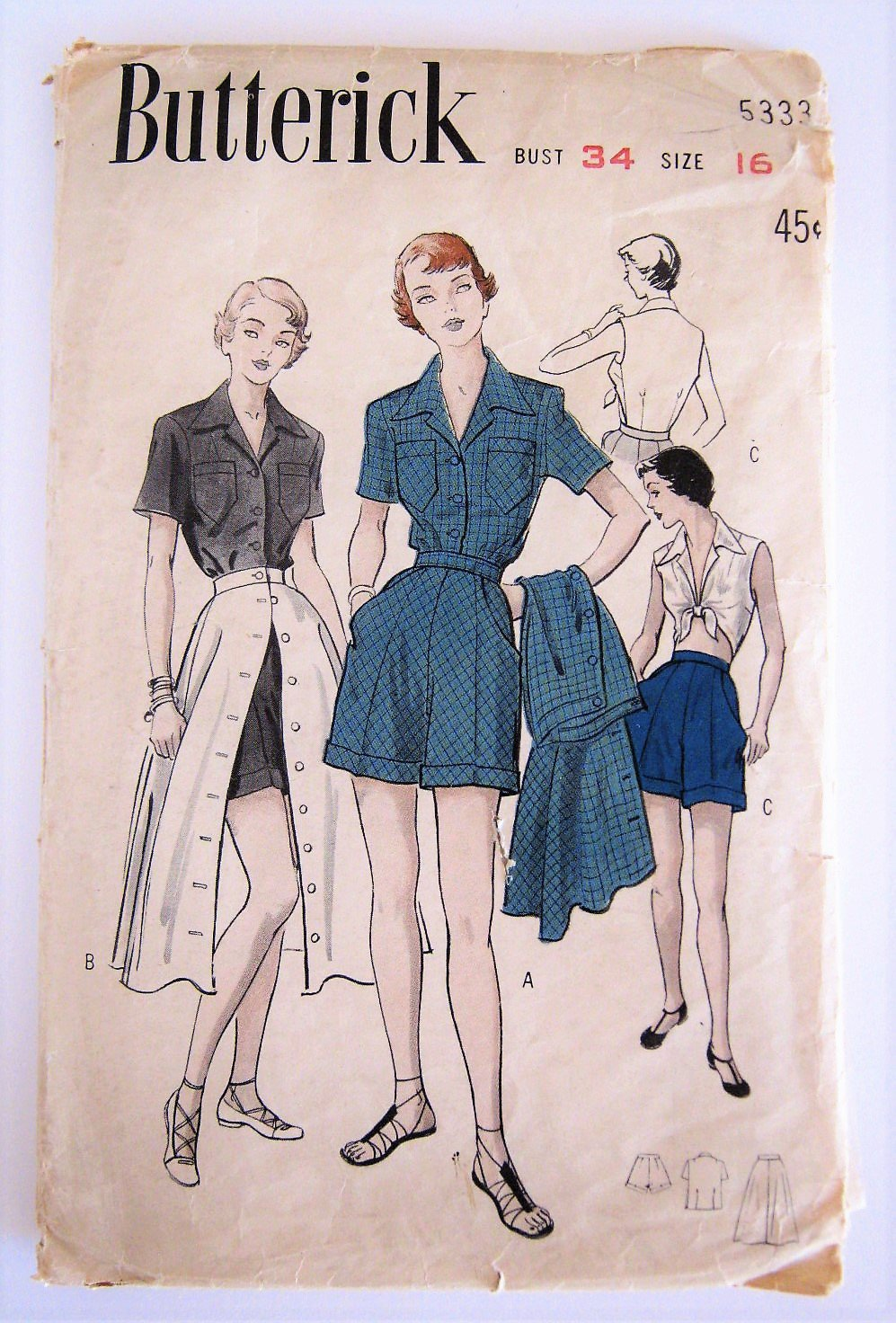 VTG 1950s Playsuit Sewing Pattern 3 Piece Blouse Shorts Skirt Butterick 5333 Bust 34 Size 16