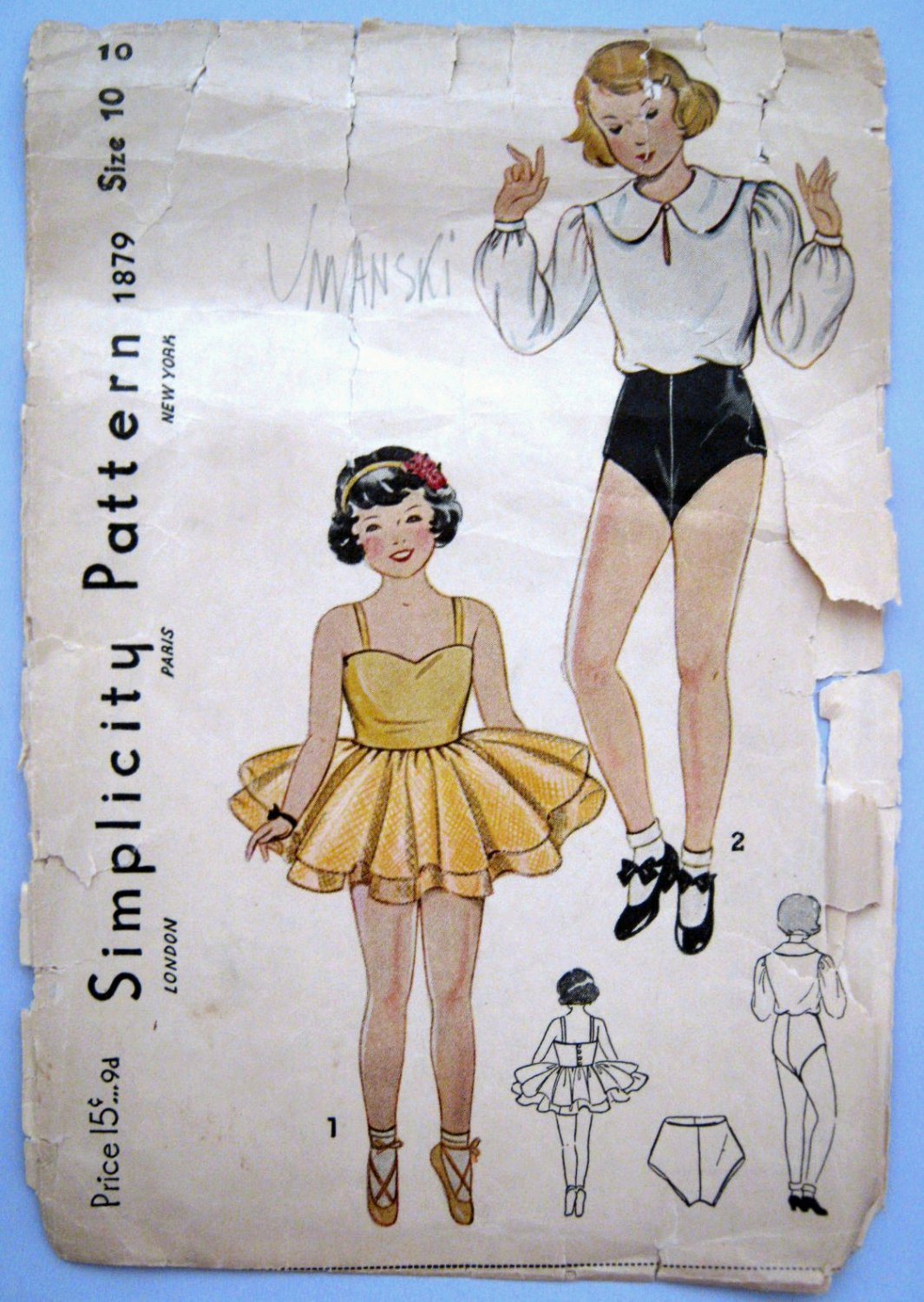 VTG 1930s Tutu Ballet & Tap Dance Costume Sewing Pattern Simplicity 1879 Girls Size 10 Breast 28