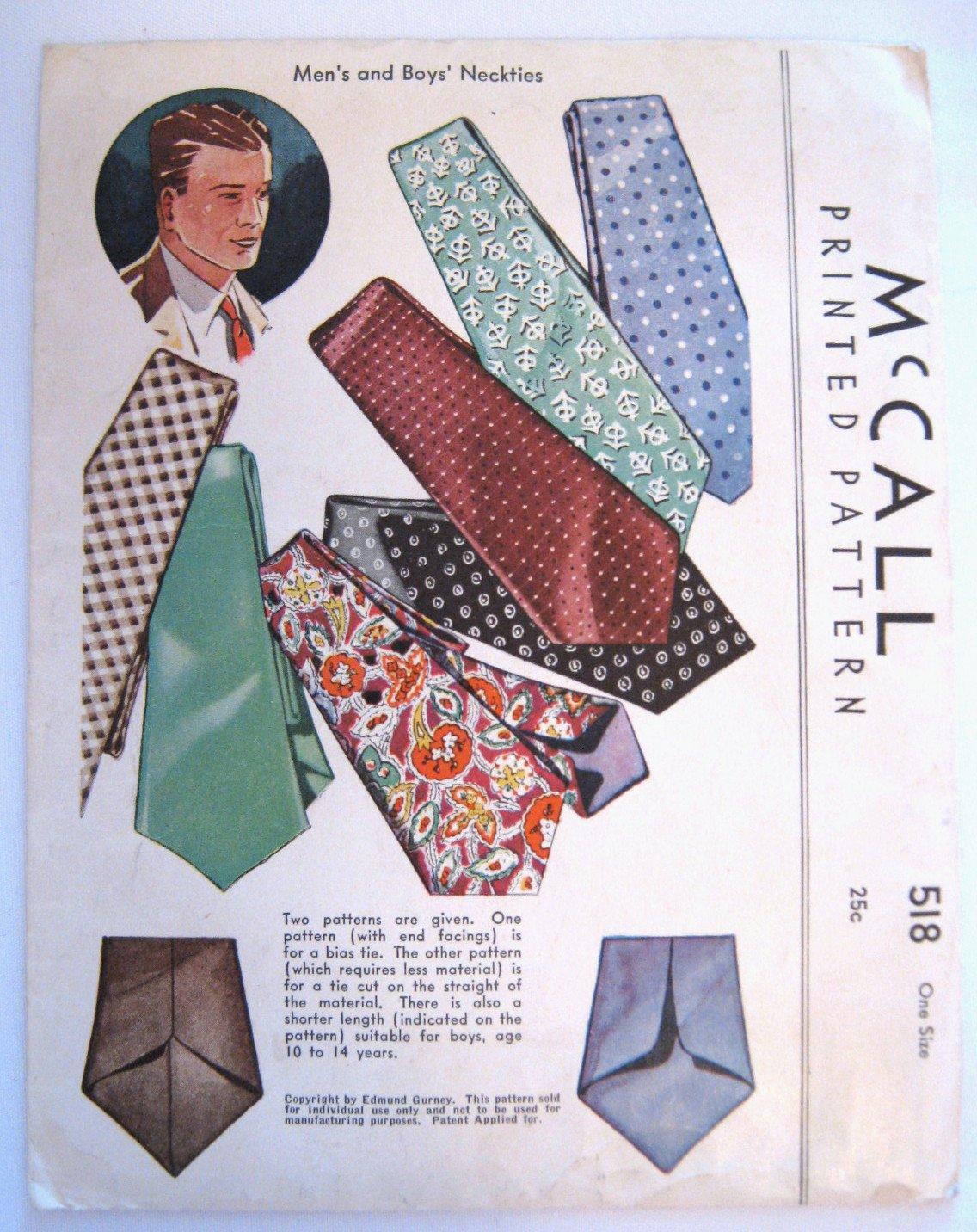 Vintage 1930s Men's & Boys' Neckties Edmund Gurney McCall 518 One Size