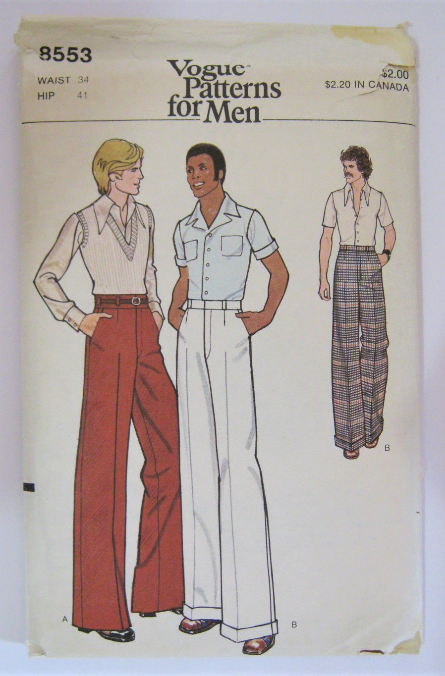 VTG 1970s Mens Pants Sewing Pattern Wide Leg Disco Era Vogue 8553 Waist 34 Hip 41