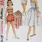 VTG 1950s Girls Playsuit SunSuit Sewing Pattern Bra Bloomers Skirt Size 8 Breast 26 Simplicity 4362