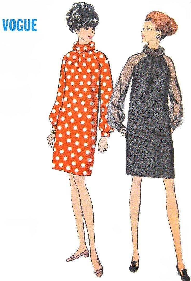 1960s MOD Cocktail or Day Dress Sewing Pattern  Vintage Vogue 7306 Misses Size 10 UNCUT
