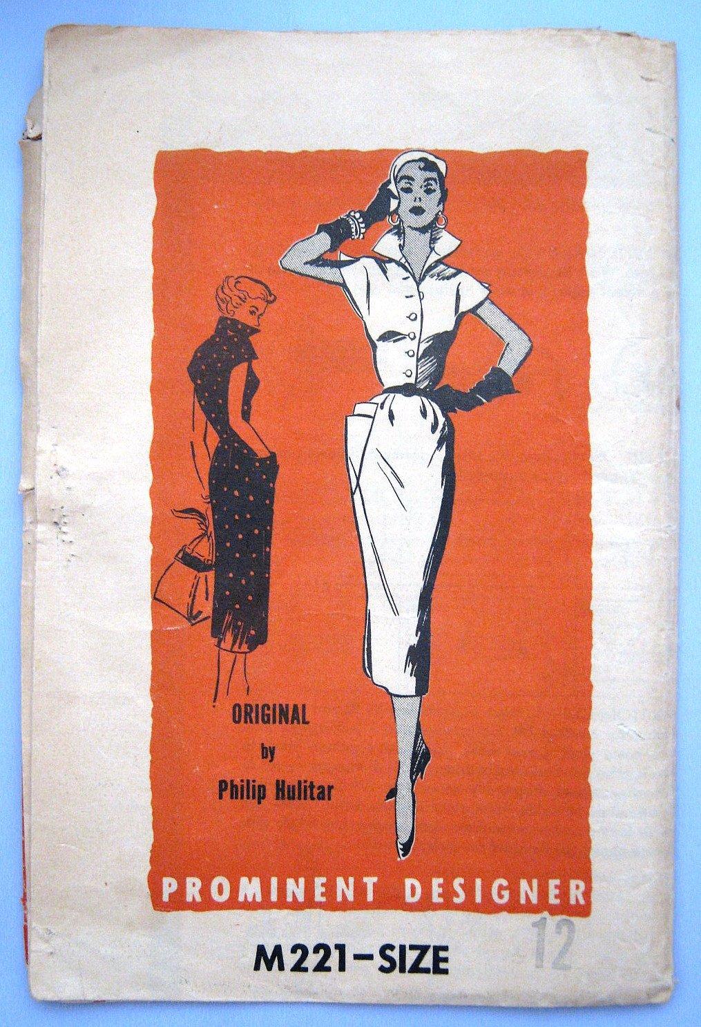 Vintage 1950s Pominent Designer Philip Hulitar Wiggle Dress Sewing Pattern  M221 Size 12 Bust 30