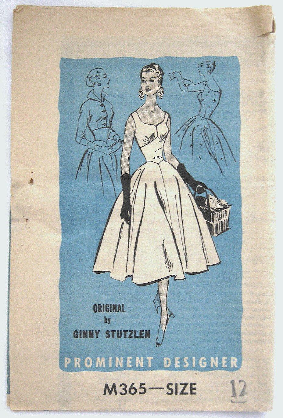 Vintage 1950s Prominent Designer Ginny Stutzlen Dress & Jacket Sewing Pattern M365 Size 12 Bust 30