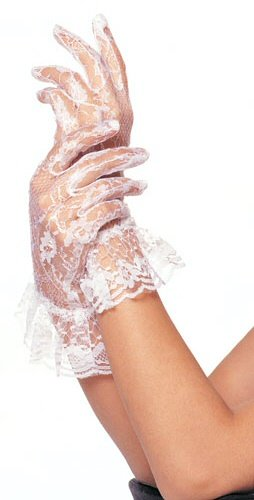 White Stretch Lace Wrist Length Gloves with Ruffle