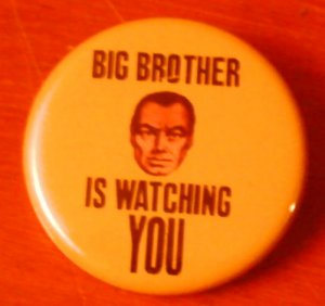 """""""BIG BROTHER IS WATCHING YOU"""" pinback button badge 1.25"""""""
