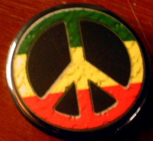 "RASTA PEACE SIGN pinback button badge 1.25"""