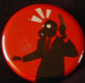 "1 GAS MASK #11  pinback button badge 1.25"""