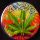 1 420 MARIJUANA LEAF pinback button badge 1.25""