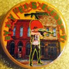 """BY ANY MEANS NECESSARY"" Punk w/ AK-47 pinback button badge 1.25'"