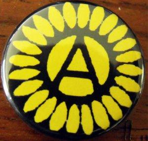 """Anarchy Sunflower pinback button badge 1.25"""""""