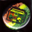 RASTA BOOMBOX pinback button badge 1.25""