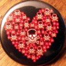 "SKULLS HEART pinback button badge 1.25"""