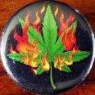 """FLAMING MARIJUANA LEAF pinback button badge 1.25"""""""