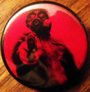 GAS MASK #12 pinback button badge 1.25""