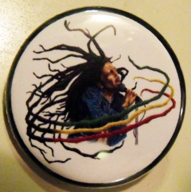 "BOB MARLEY - RASTA DREADS pinback button badge 1.25"""