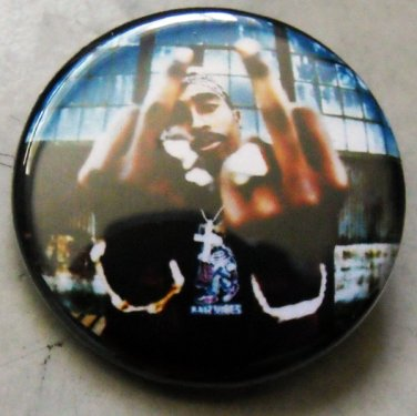 """2PAC - DOUBLE FINGERS pinback button badge 1.25"""""""