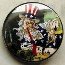 "UNCLE SAM SLAMS OIL pinback button badge 1.25"""