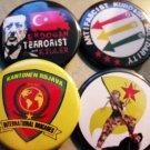 4 KURDISH RESISTANCE PINBACK BUTTONS #2