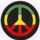 "RASTA Peace Logo Embroidered Iron-on Patch 3"" inch Diameter PLUS 2 FREE PINS"