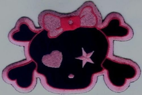 """Pink and Black Skull  EMBROIDERED IRON-ON  Patch 4.5""""x3"""" PLUS 2 FREE PINS"""