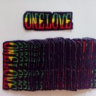 "RASTA ONE LOVE  EMBROIDERED IRON-ON  PATCH 1.5"" X 4"" INCHES PLUS 2 FREE PINS"