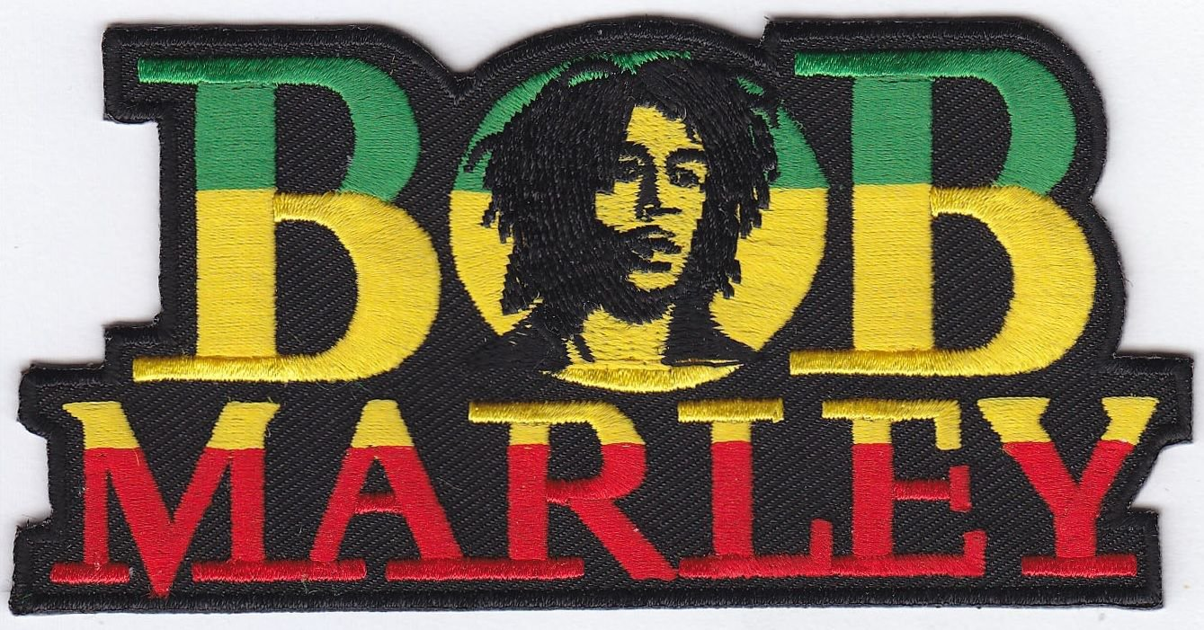 """BOB MARLEY EMBROIDERED IRON-ON PATCH #2 4.5"""" x 2.25"""" inches PLUS 2 FREE PINS"""