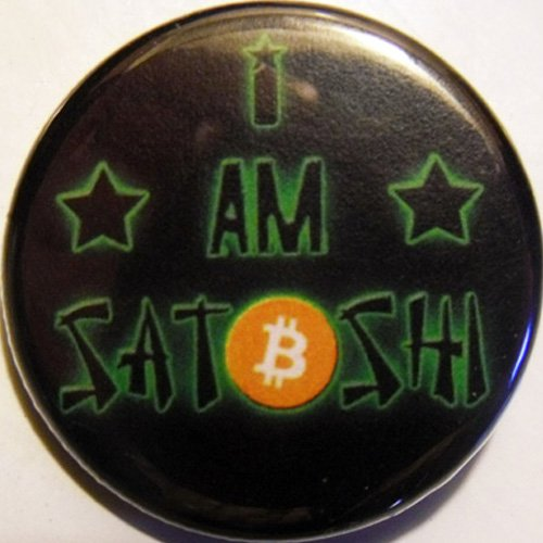 "I AM SATOSHI  pinback button badge 1.25"""