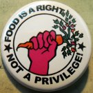 """FOOD IS A RIGHT NOT A PRIVILEGE! - FOOD NOT BOMBS   pinback button badge 1.25"""""""