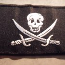 "Calico Jack Jolly Roger Pirate Flag Embroidered Patch 3.5""x2.25"" PLUS 2 FREE PINS"