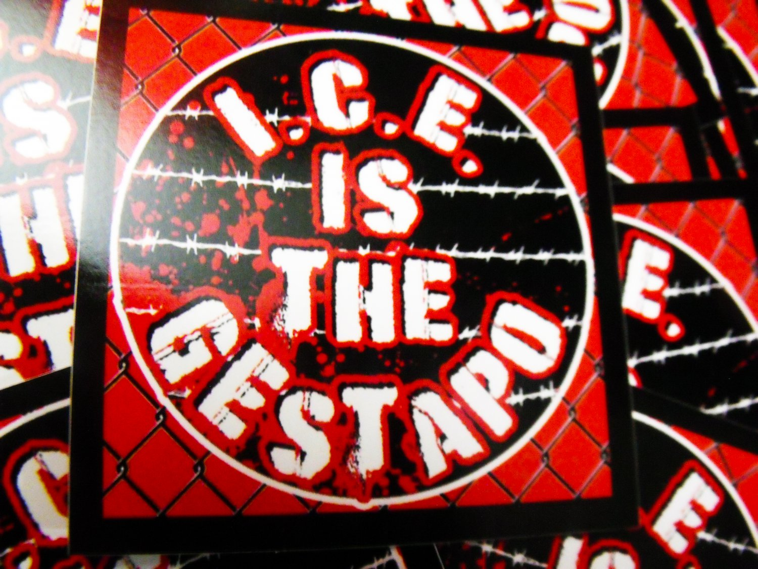 """100 I.C.E. IS THE GESTAPO 2.5"""" stickers"""