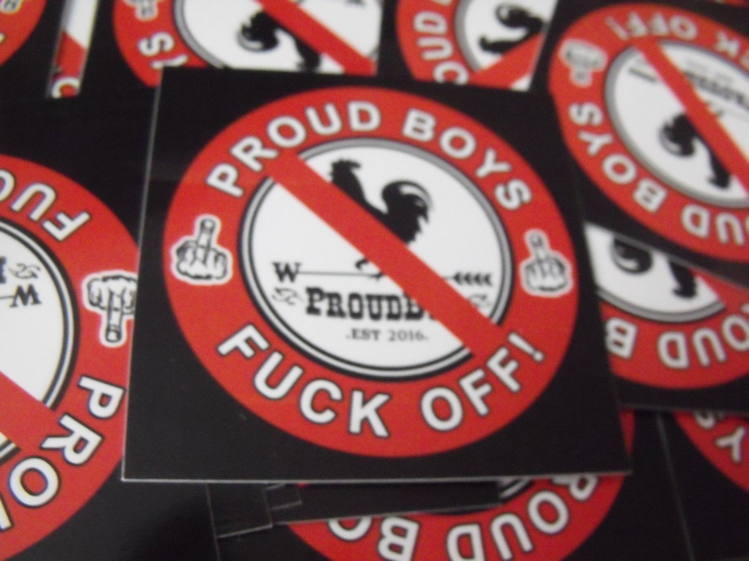 "300 PROUD BOYS FUCK OFF 2.5"" x 2.5"" stickers"