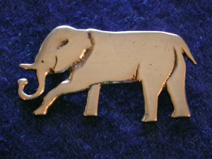 Vintage Sterling Silver ~ ELEPHANT WITH TRUNK UP ~ BROOCH Pin ~ Adorable ~ #7