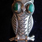Vintage TURQUOISE & SILVER RING ~ Large OWL with turquoise eyes ~ #6
