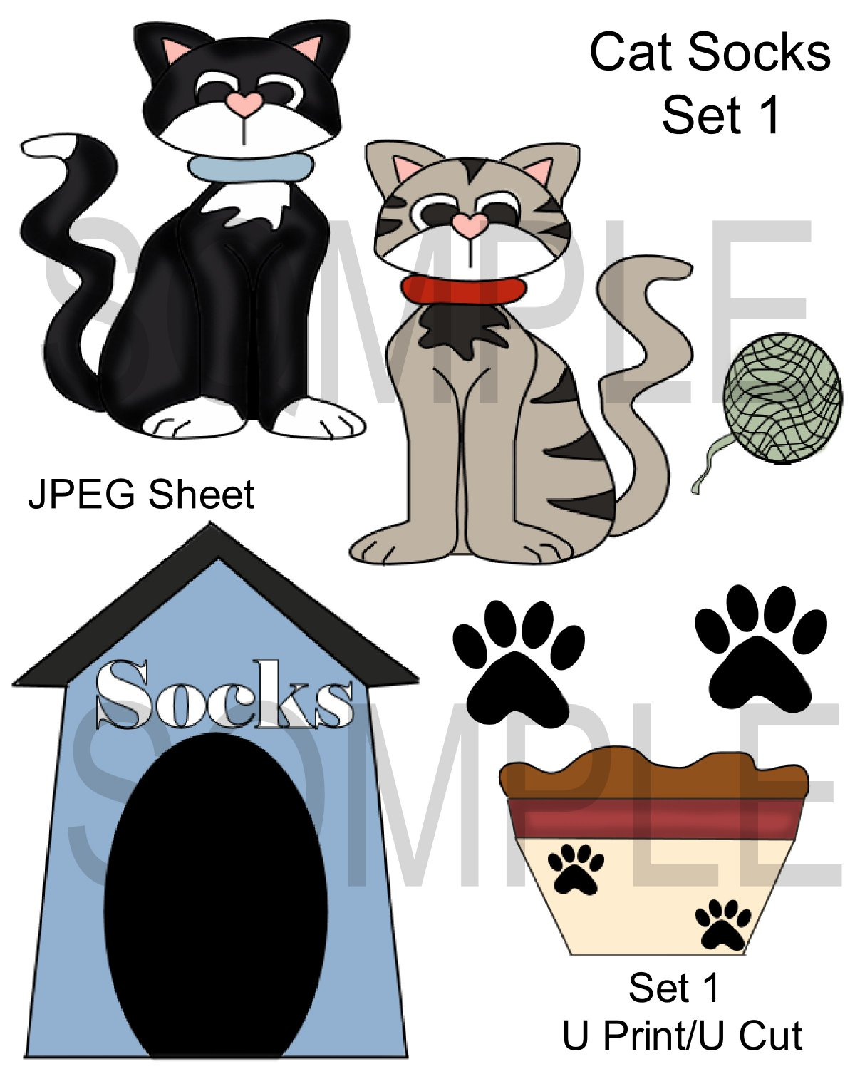 Cat Socks 1-Emailed as JPEG File-Commercial and Personal Use